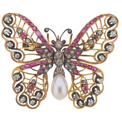 Antique Diamond Pearl Ruby Gold Silver Butterfly Brooch Pin