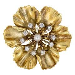 Antique Diamond Pearl Yellow Gold Anemone Flower Brooch