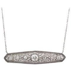 Antique Diamond Platinum and White Gold Filigree Bar Necklace