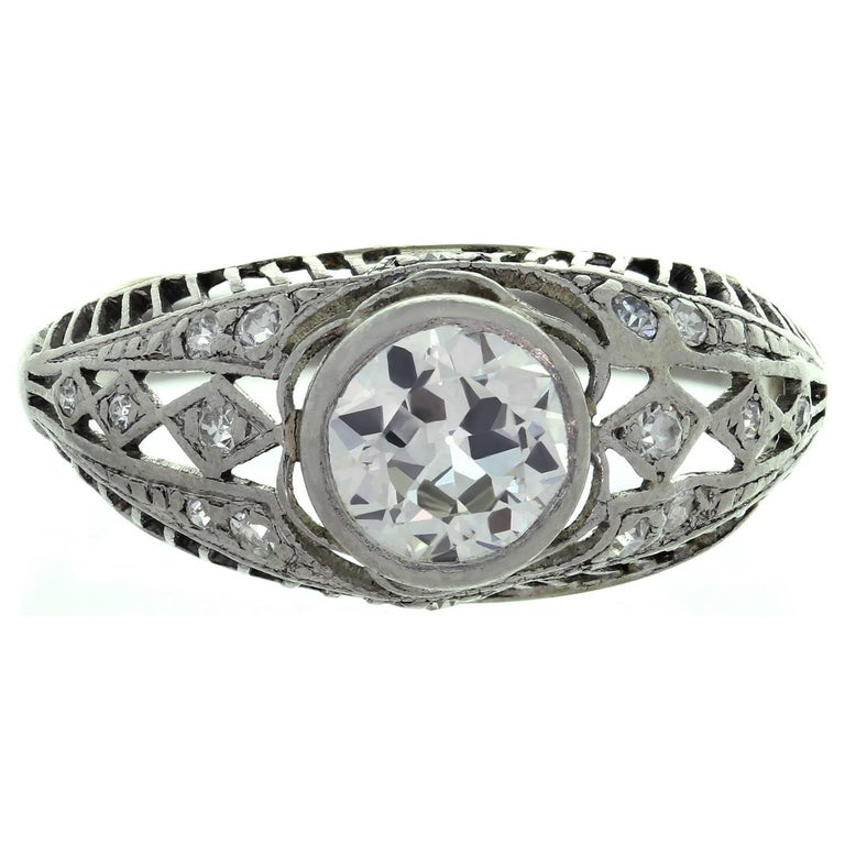 Antique Engagement Rings For Sale: Antique Diamond Platinum Filigree Engagement Ring For Sale
