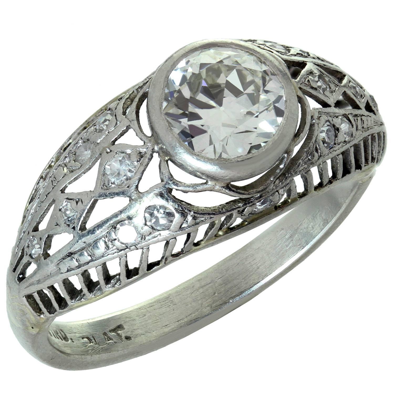 Antique Diamond Platinum Filigree Engagement Ring For Sale at 1stdibs