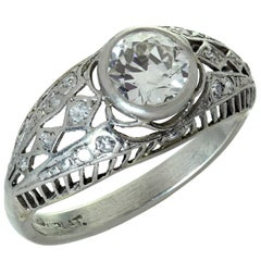 Antique Diamond Platinum Filigree Engagement Ring