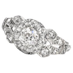 Antique Diamond Platinum Filigree Ring