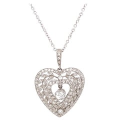 Antique Diamond Platinum Heart Pendant