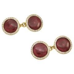Antique Diamond Red Enamel Cufflinks