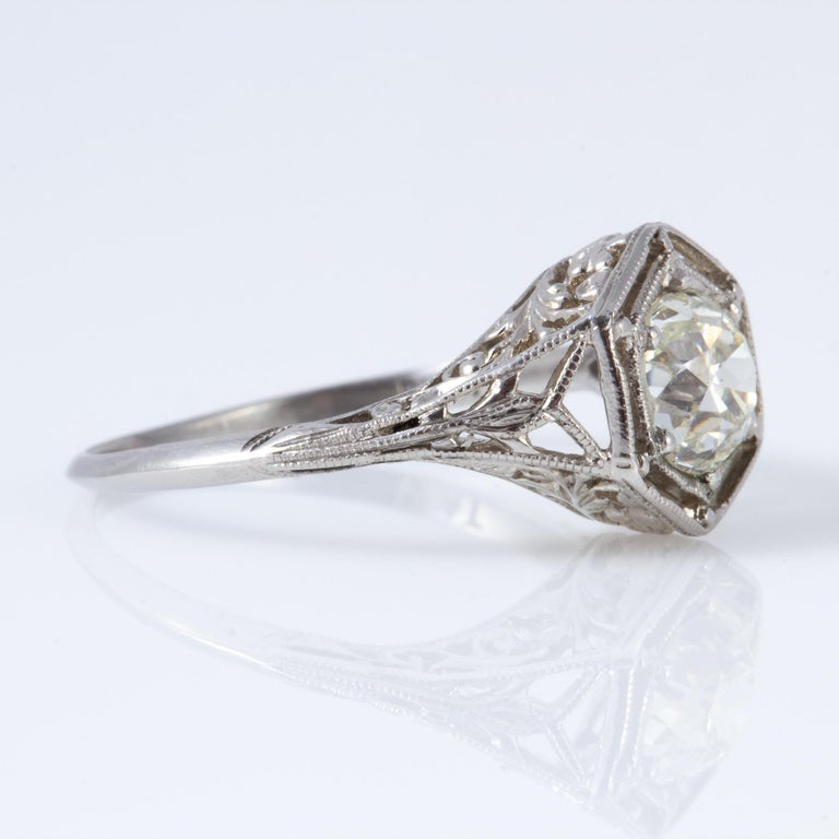 Platinum setting with @.90ct. center stone.  Beautifully cut, with just a touch of yellow to the stone.  Looks to be from the very early 20th century, probably between 1900 and 1910.