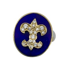 Antique Diamond Royal Blue Enamel Fleurs De Lis Ring 14 Karat Gold