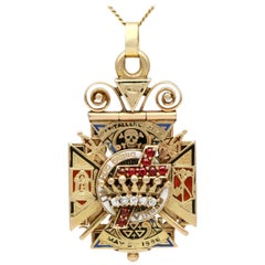 Antique Diamond, Ruby and Enamel Gold Masonic Pendant / Watch Fob