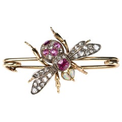Antique Diamond, Ruby and Opal Bee Brooch