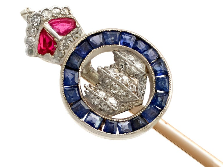 Round Cut Antique Diamond, Ruby, and Sapphire and Yellow Gold Sweetheart Pin Brooch For Sale