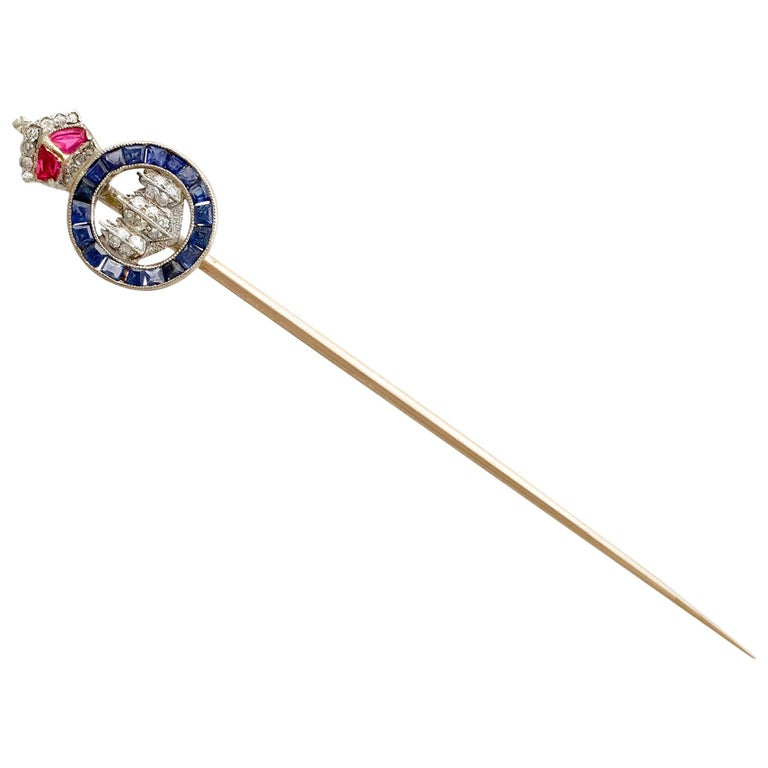 Antique Diamond, Ruby, and Sapphire and Yellow Gold Sweetheart Pin Brooch For Sale