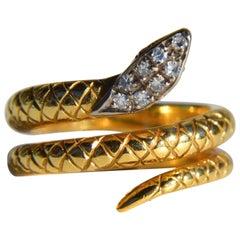 Antique Diamond Ruby Art Deco 18 Karat Gold Snake Ring