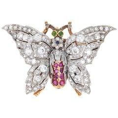 Antique Diamond Ruby Gold Platinum Butterfly Pendant Brooch