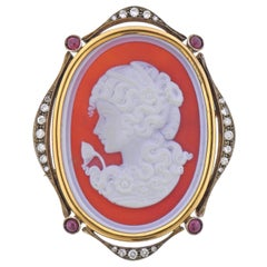 Antique Diamond Ruby Hardstone Cameo Brooch