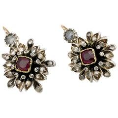Antique  Diamond Ruby Silver Flower Ear Pendants
