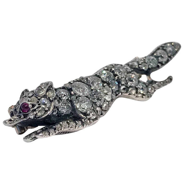 Antique Diamond Running Fox Brooch, Continental, circa 1880 For Sale