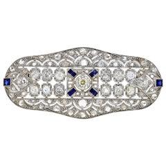 Antique Diamond and Sapphire Platinum Brooch