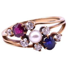 Antique Diamond Sapphire, Ruby and Pearl Triple Band Ring