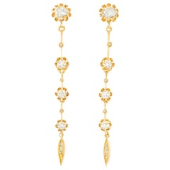 Antique Diamond Set Gold Dangle Earrings