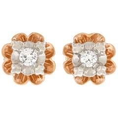 Antique Diamond Set Gold Floret Stud Earrings
