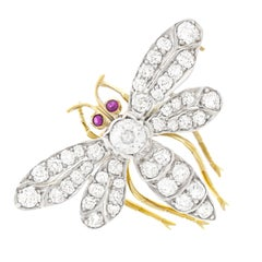 Antique Diamond Set Silver over Gold Bee Brooch