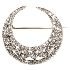 Antique Diamond Silver and Gold Crescent Brooch, circa 1900