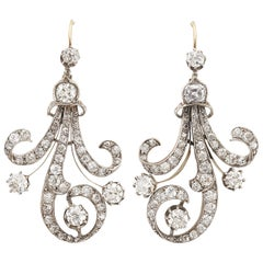Antique Diamond Silver and Gold Earrings