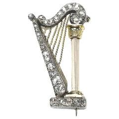 Antique Diamond, Silver and Gold Harp Brooch, Circa 1890