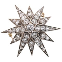 Antique Diamond Silver and Gold Star Brooch, circa 1880