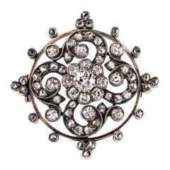 Antique Diamond Silver Rose Gold Brooch