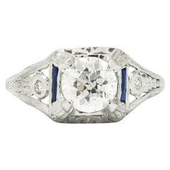 Antique Diamond Solitaire Engagement Ring 1 Carat + Certified Old European Cut