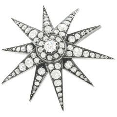 Antique Diamond Star on Star Silver over Gold Brooch