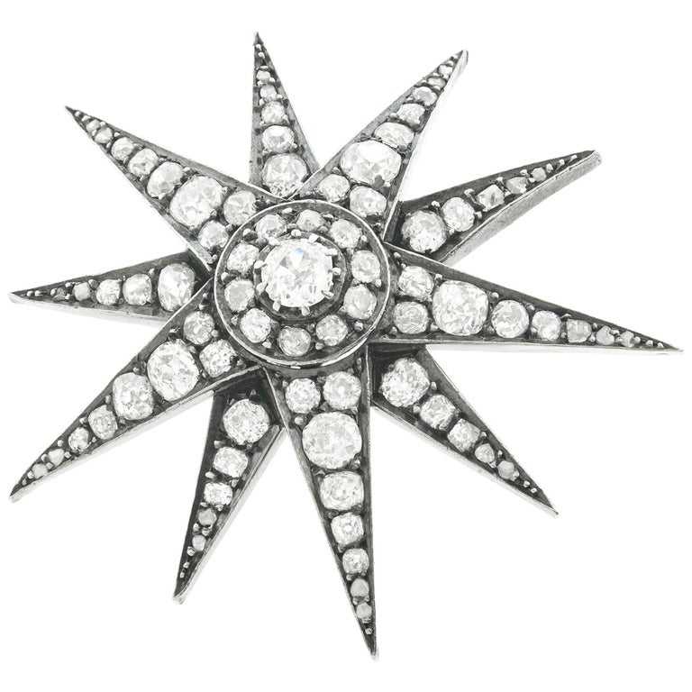 Antique Diamond Star on Star Silver over Gold Brooch For Sale