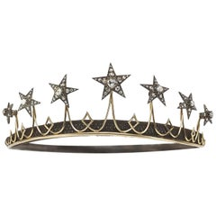Antique Diamond Star Tiara, circa 1850