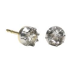 Antique Diamond Stud Earrings 1.00 Carat