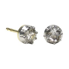 Antique Diamond Stud Earrings 1.00 Carat