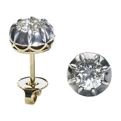 Antique Diamond Stud Earrings, 1.29 Carat