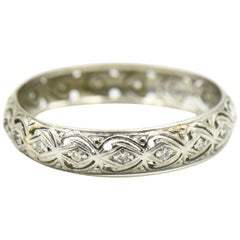 Antique Diamond White Gold Filagree Band Ring