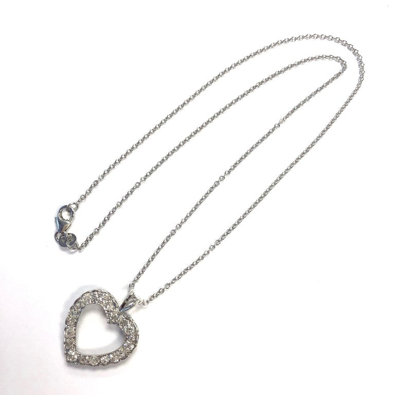 Antique Diamond White Gold Heart Pendant Necklace In Good Condition For Sale In Westlake Village, CA