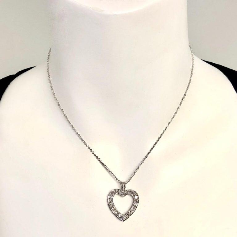 Women's or Men's Antique Diamond White Gold Heart Pendant Necklace For Sale