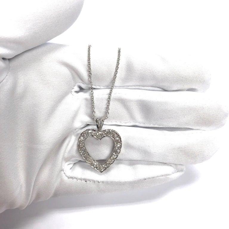 Antique Diamond White Gold Heart Pendant Necklace For Sale 1
