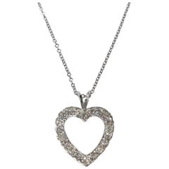 Antique Diamond White Gold Heart Pendant Necklace