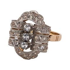 Antique Diamond White and Yellow Gold Ladies Ring