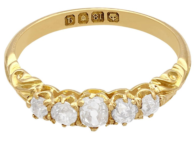 Round Cut Antique Diamond Yellow Gold Five-Stone Ring For Sale