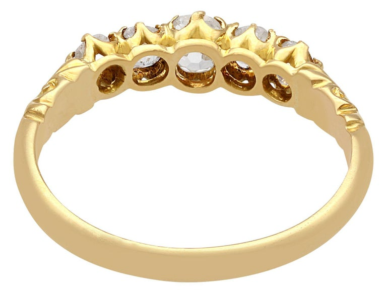 Antique Diamond Yellow Gold Five-Stone Ring In Excellent Condition For Sale In Jesmond, Newcastle Upon Tyne