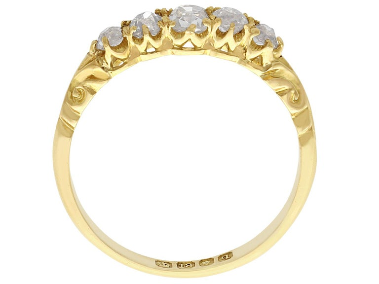 Women's Antique Diamond Yellow Gold Five-Stone Ring For Sale