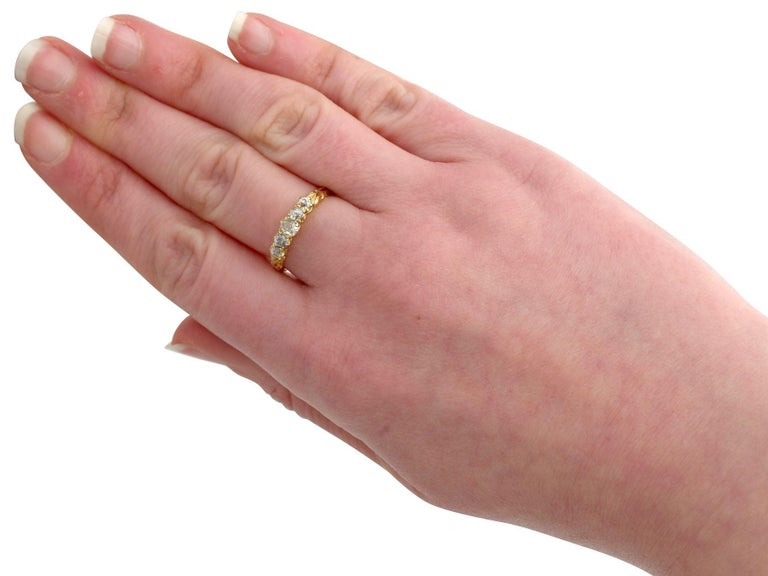 Antique Diamond Yellow Gold Five-Stone Ring For Sale 1