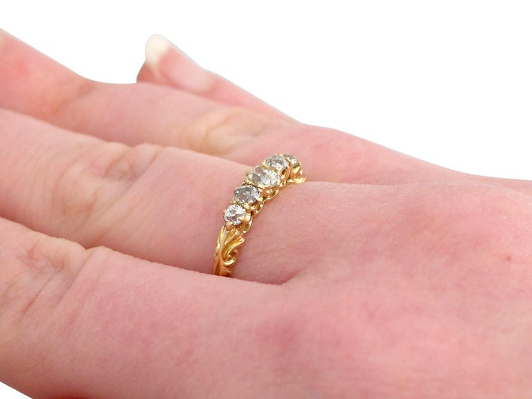 Antique Diamond Yellow Gold Five-Stone Ring For Sale 2