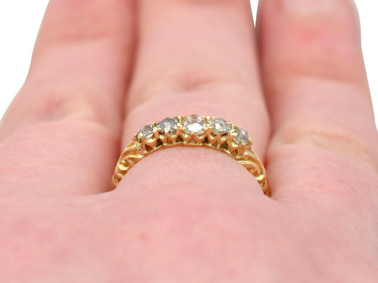 Antique Diamond Yellow Gold Five-Stone Ring For Sale 3