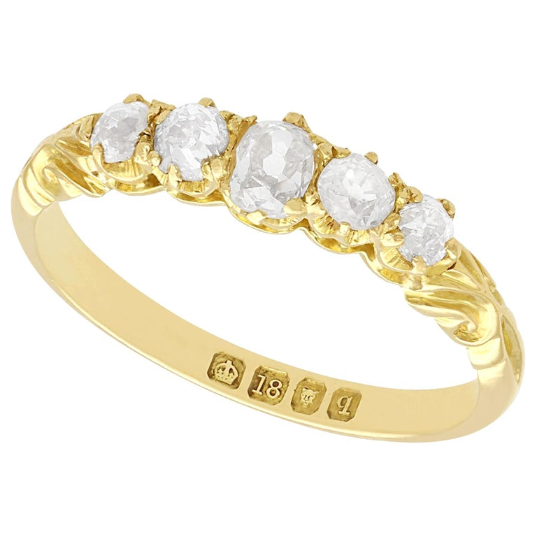Antique Diamond Yellow Gold Five-Stone Ring For Sale